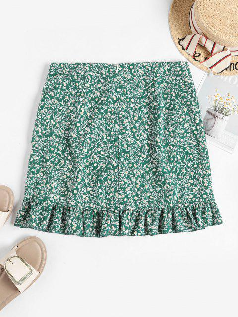 unique Tiny Floral Ruffles Overlap Skirt - GREEN M Mobile