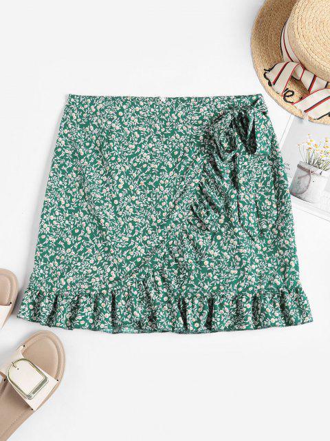 Tiny Floral Ruffles Overlap Skirt - أخضر L Mobile