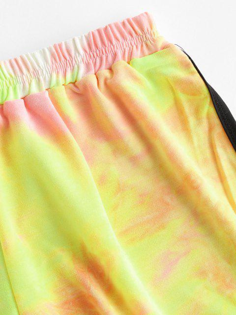 ladies High Waisted Tie Dye Dolphin Shorts - YELLOW S Mobile