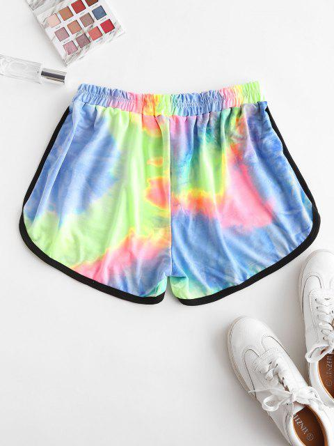 online High Waisted Tie Dye Dolphin Shorts - PINK L Mobile
