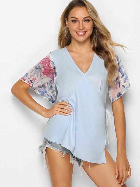 womens Asymmetrical Floral Wrap Blouse - LIGHT SLATE M Mobile
