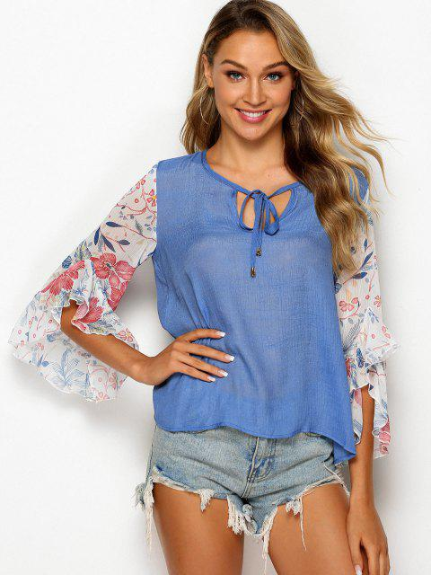womens Tie Collar Floral Panel Chambray Blouse - SILK BLUE XL Mobile