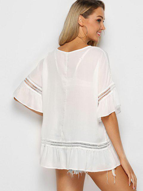 women Solid Crochet Trim Flounced Blouse - WHITE L Mobile