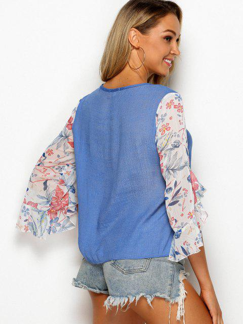ladies Tie Collar Floral Panel Chambray Blouse - SILK BLUE M Mobile