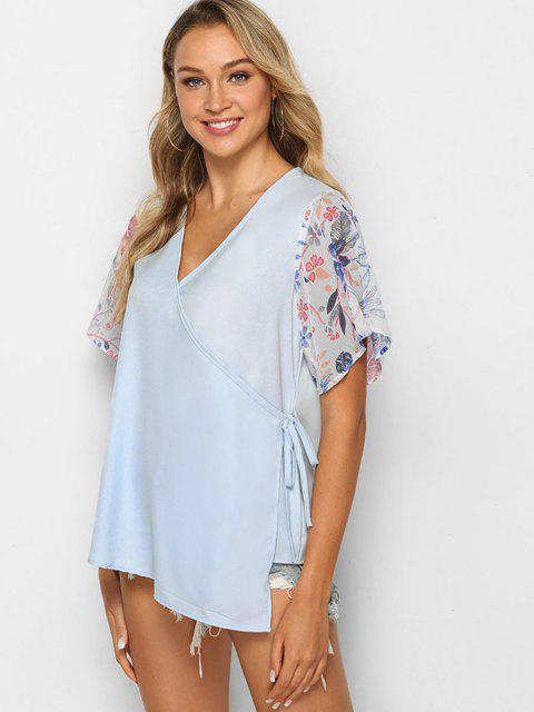 best Asymmetrical Floral Wrap Blouse - LIGHT SLATE L Mobile