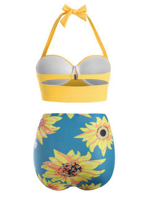 Bikini à Taille HauteFleurImpriméeGrande-Taille à Col Halter - Bleu de Soie 4XL Mobile