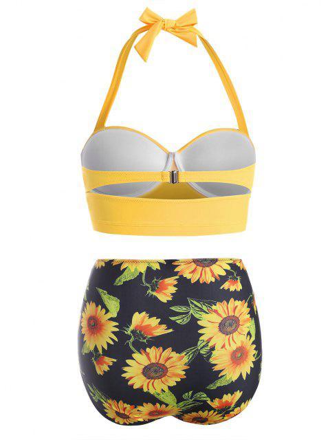 Bikini à Taille HauteFleurImpriméeGrande-Taille à Col Halter - Jaune Clair L Mobile