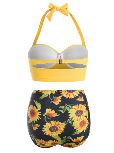 unique Plus Size Halter High Waist Flower Print Bikini - BRIGHT YELLOW XL Mobile