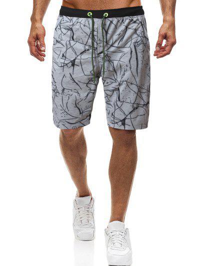 Contraste De Impresión Irregular Con Cordón Pantalones Cortos - Gris L