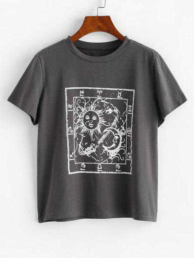 Astrology Sun Moon Graphic Tee - Gray S
