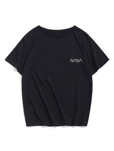 T-shirt Décontracté Motif De Lettre à Manches Courtes - Noir M