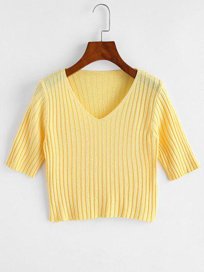 V Neck Knitted Slim Crop Tee - Yellow