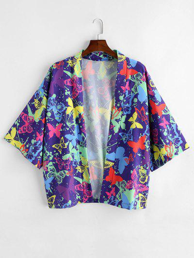 Schmetterling Malerei Bedrucktes Hemd Mit Kurzen Ärmeln - Lila Iris L