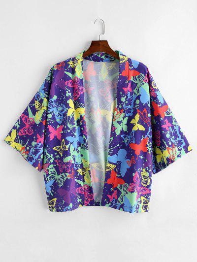 Butterfly Painting Printed Short Sleeves Shirt - Purple Iris 2xl