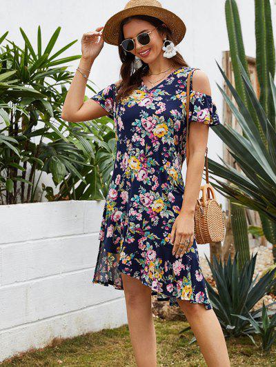 Flounced Hem Floral Cold Shoulder Asymmetrical Dress - Cadetblue L