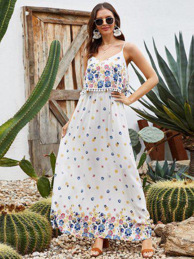 Flower Print Pom Pom Flounce Overlay Maxi Dress - White S