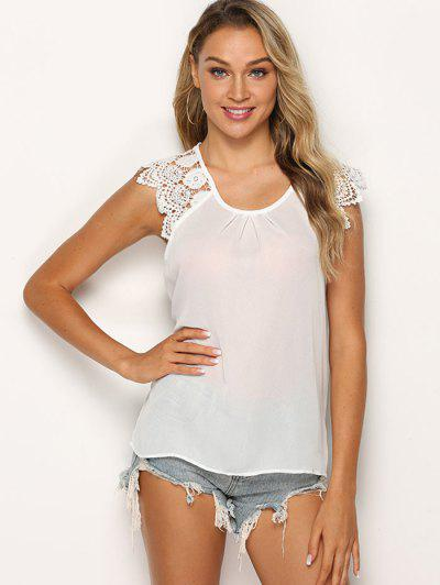Ruched Solid Lace Panel Blouse - White L