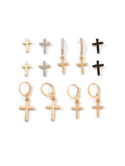 6 Pairs Cross Rhinestone Earrings Set - Gold