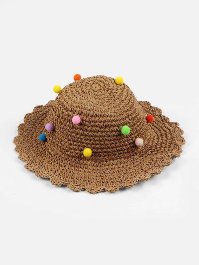 Fuzzy Ball Decorated Straw Hat - Coffee