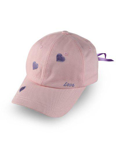 Heart Letter Embroidered Baseball Hat - Pink