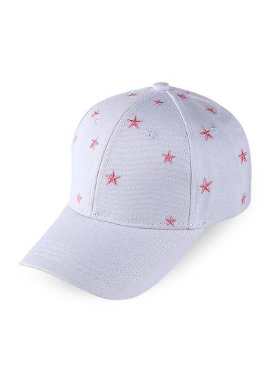 Star Embroidered Baseball Cap - White