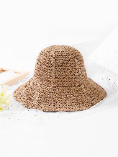 Solid Color Design Foldable Straw Hat - Camel Brown