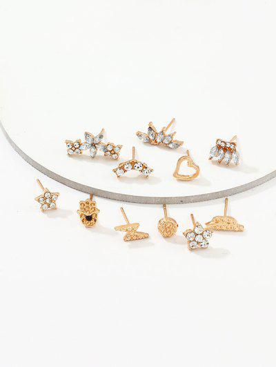 11Pcs Floral Star Rhinestone Earrings Set - Gold
