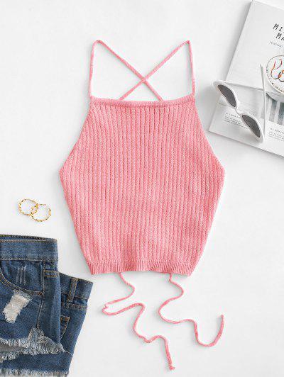 Top Cami Barriga De Fora Tricotada Com Laço Cortado - Rosa De Flamingo