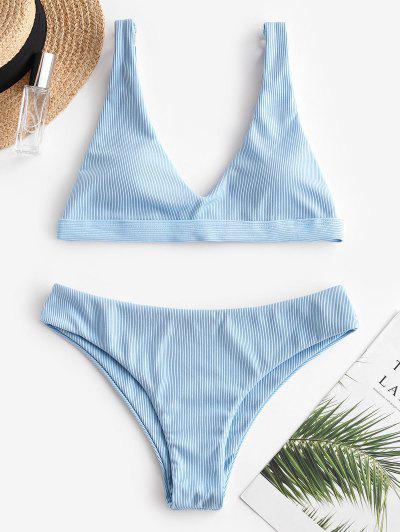 Costume Da Bagno Bikini A Costine Di ZAFUL - Celeste Chiaro L