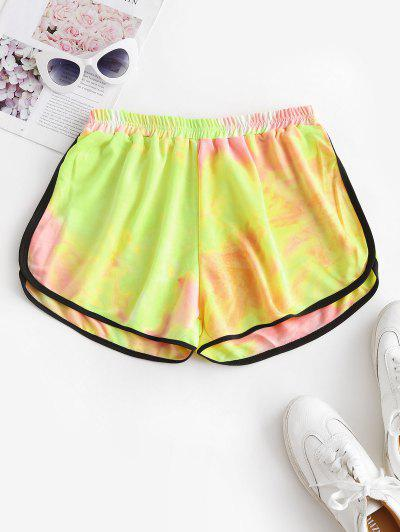 High Waisted Tie Dye Dolphin Shorts - Yellow M