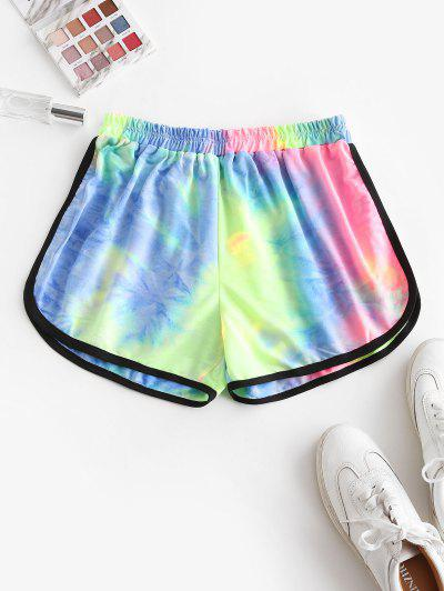 High Waisted Tie Dye Dolphin Shorts - Pink M