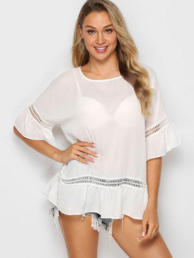Solid Crochet Trim Flounced Blouse - White M