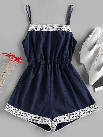 ZAFUL Crochet Trim Cami Wide Leg Romper - Dark Slate Blue S