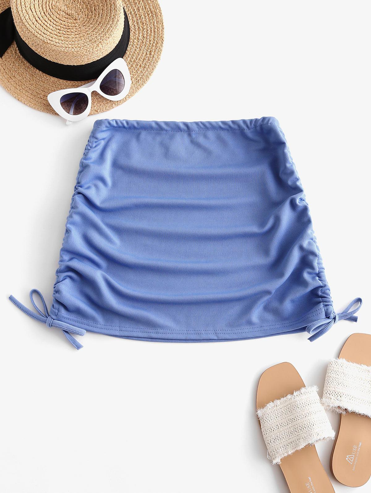 Ribbed Cinched Side Mini Skirt