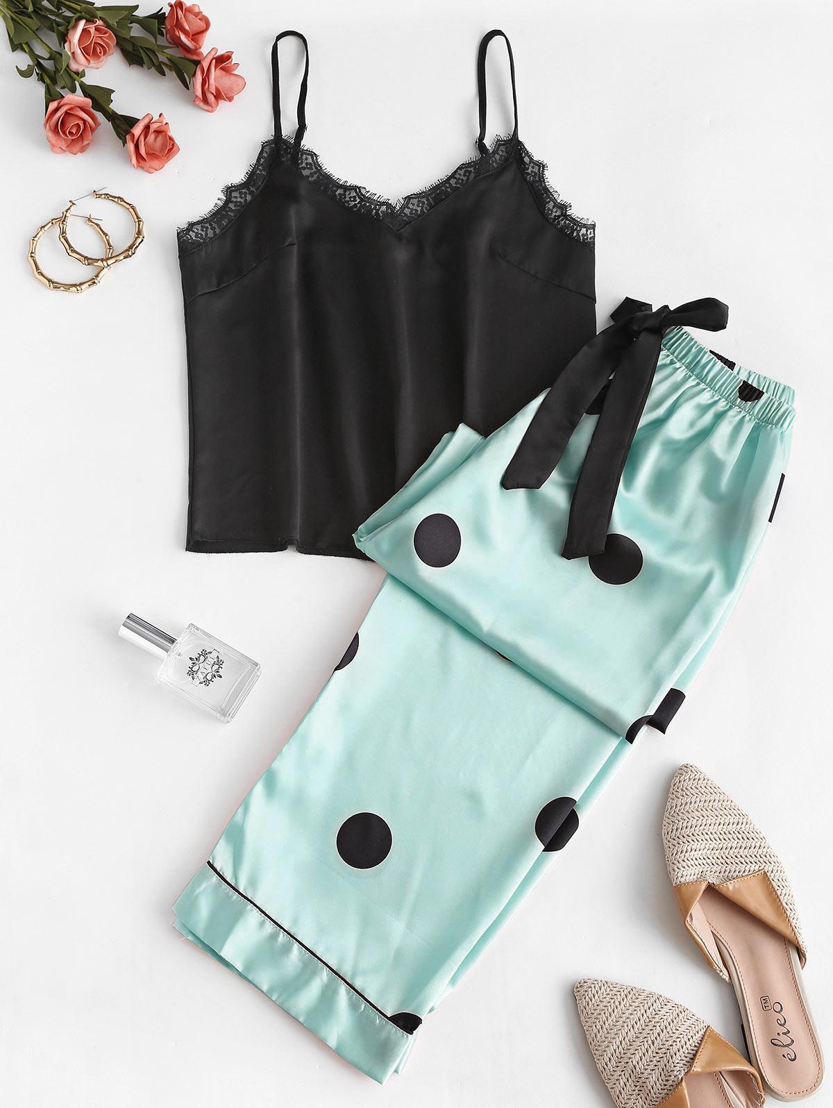 Lace Insert Polka Dot Cami Pajama Pants Set