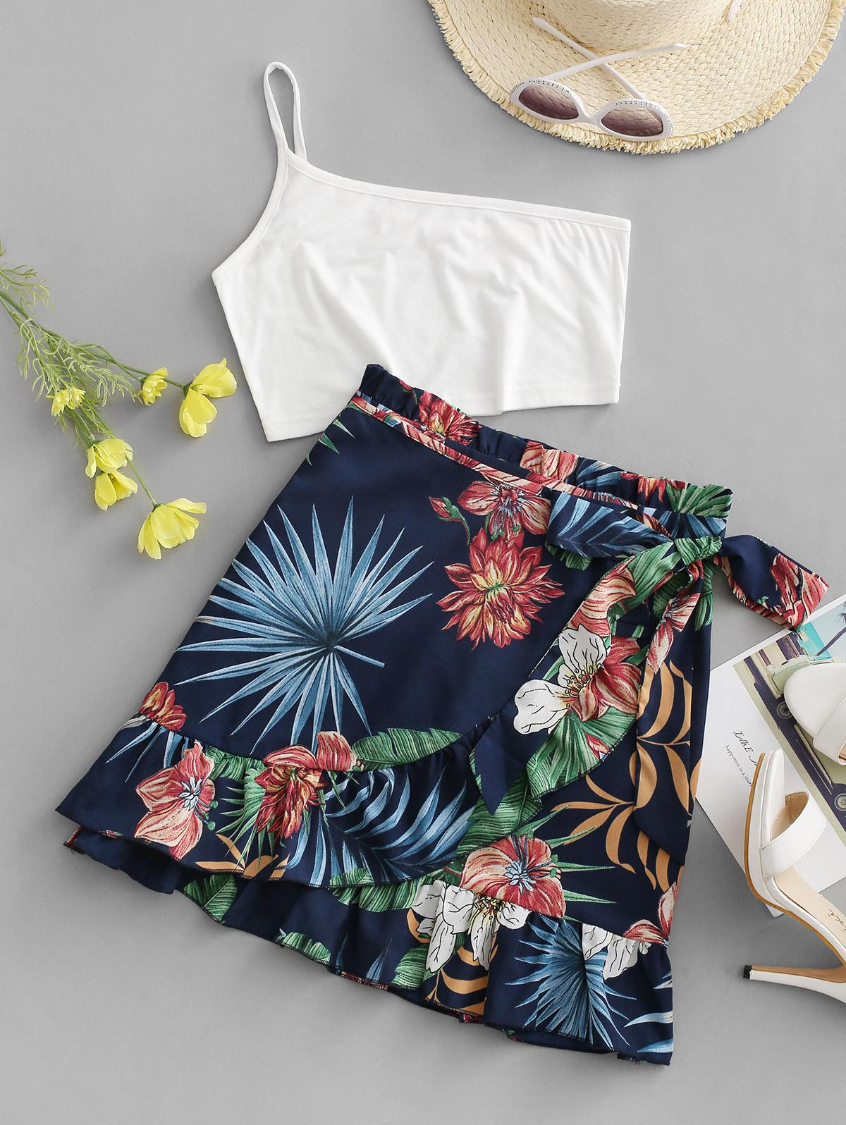 ZAFUL One Shoulder Flower Leaf Flounce Two Piece Set thumbnail