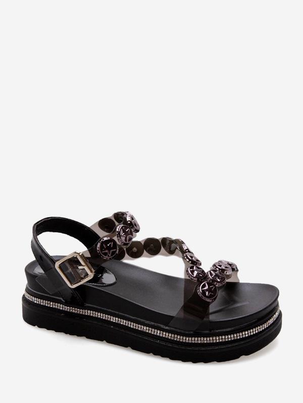 Star Studded Platform Ankle Strap Sandals