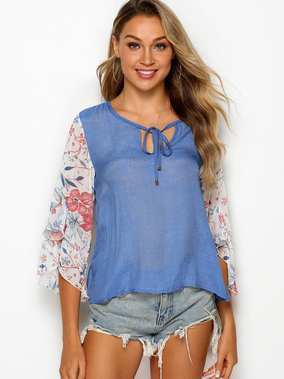 Tie Collar Floral Panel Chambray Blouse