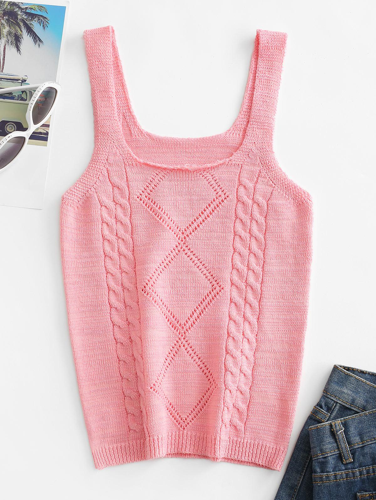 U Neck Cable Knit Tank Top thumbnail