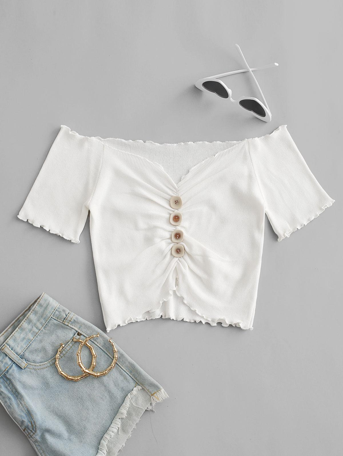 Mock Button Ruched Cropped T-shirt
