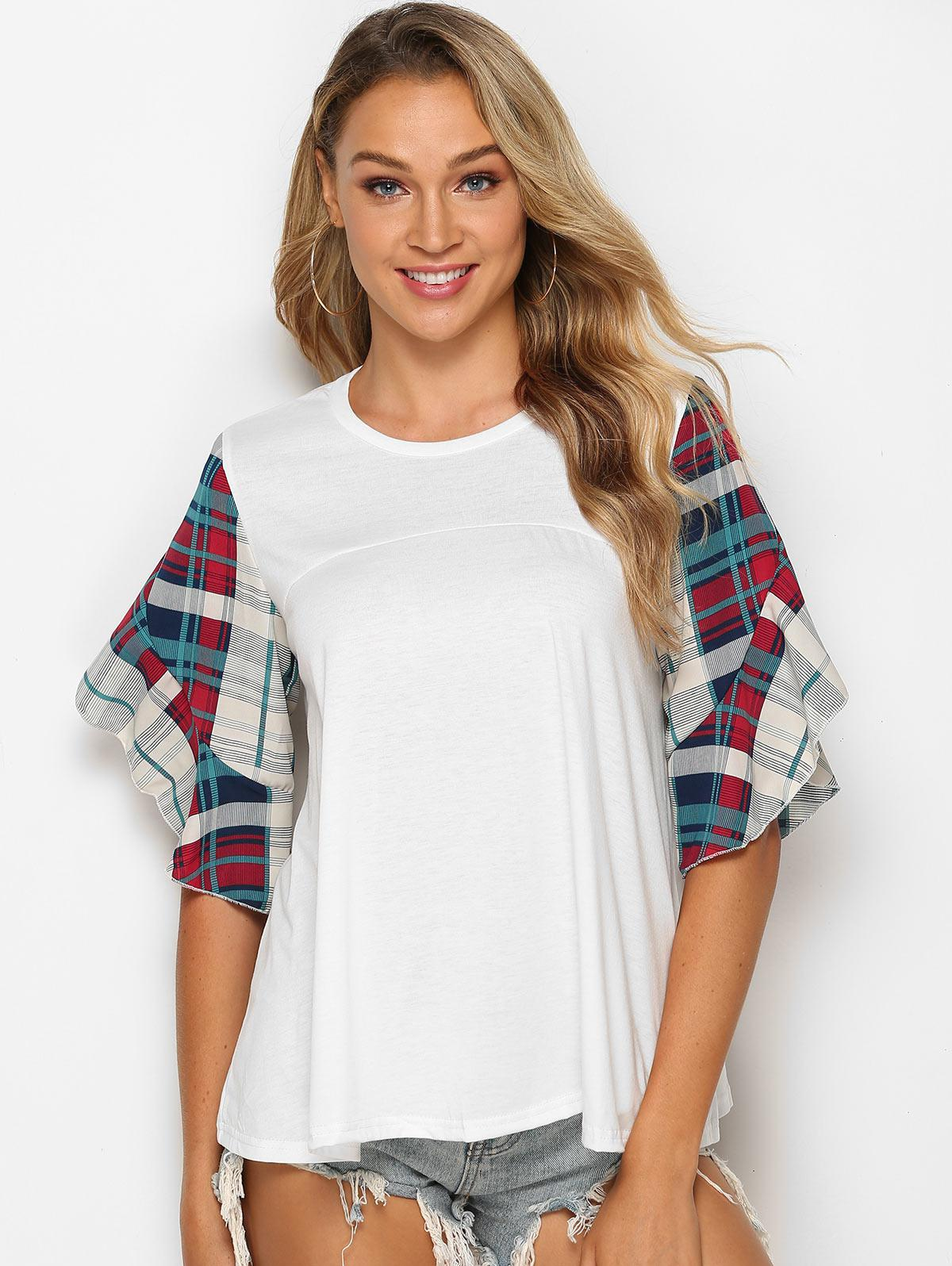 Flounced Sleeve Plaid Panel Blouse
