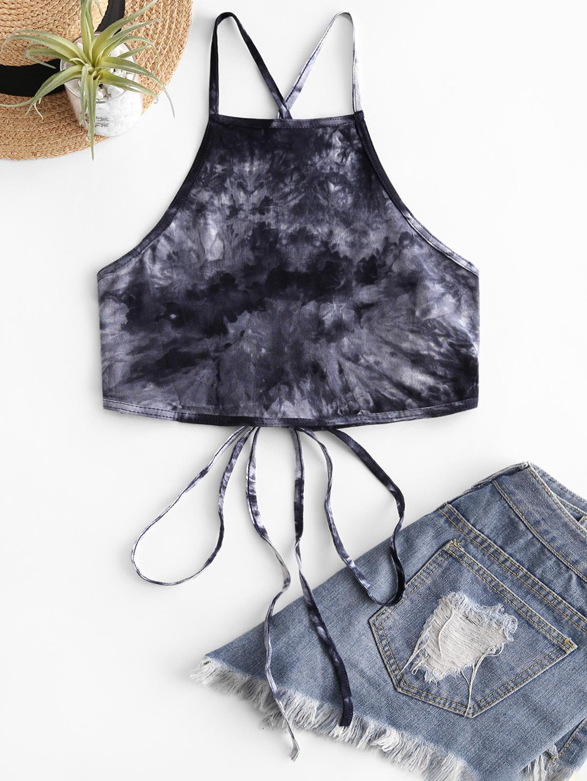 Lace Up Criss Cross Heathered Tie Dye Crop Top