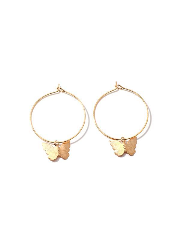 Butterfly Pendant Hoop Earrings