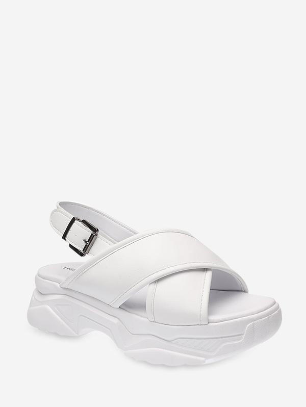 Front Cross Leather Platform Sandals