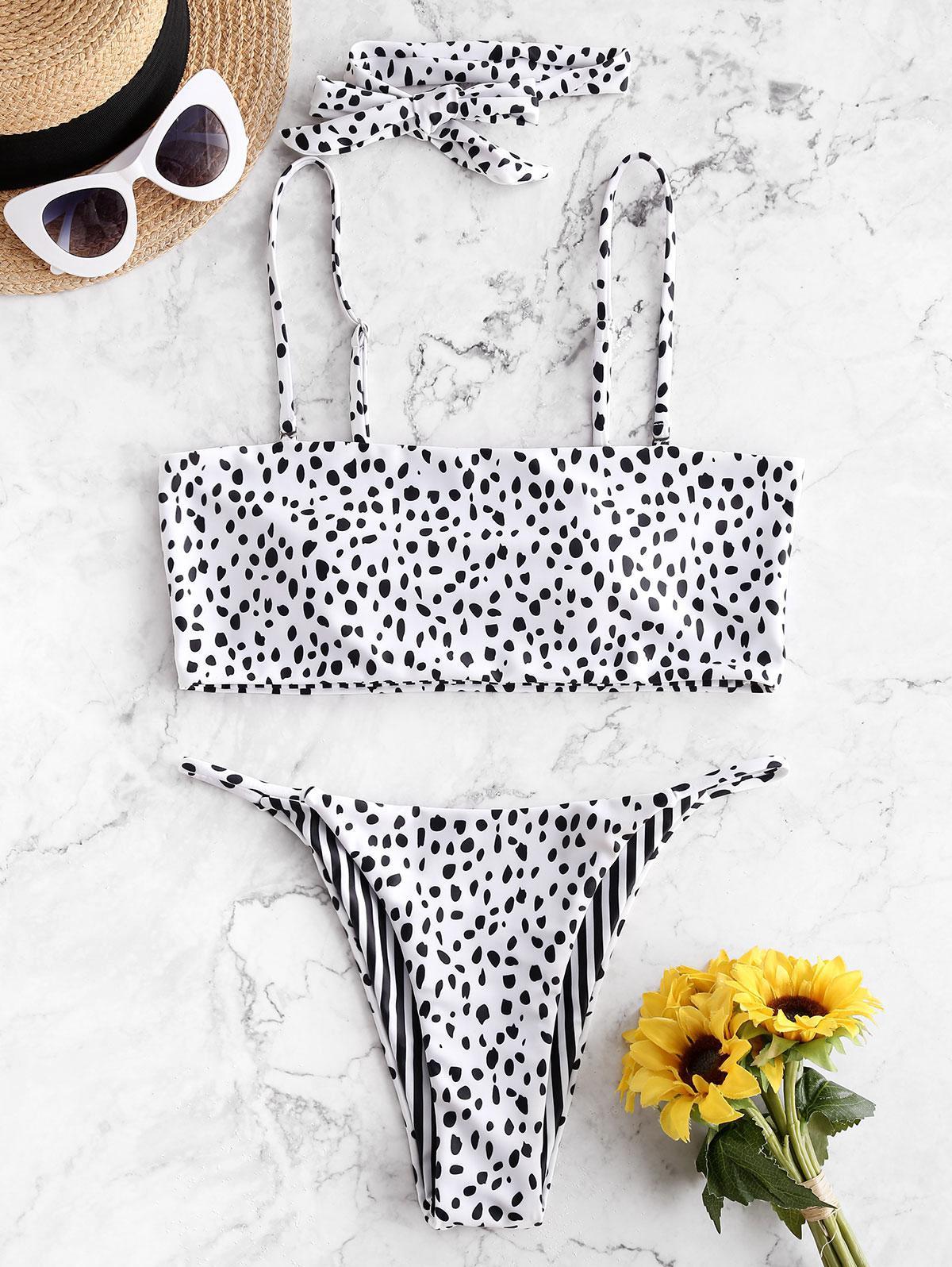 ZAFUL Reversible Dalmatians Stripes Choker Bikini Swimsuit thumbnail