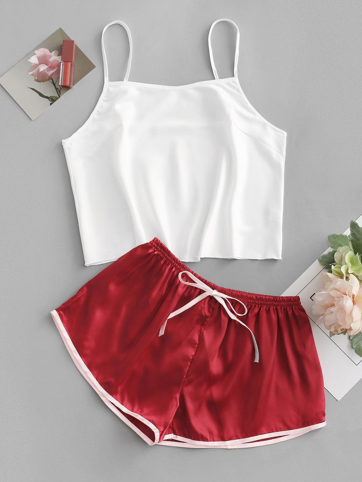 Colorblock Bowknot Pajama Shorts Set
