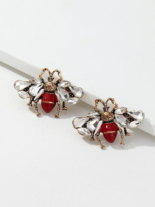Faux Gemstone Bee Earrings