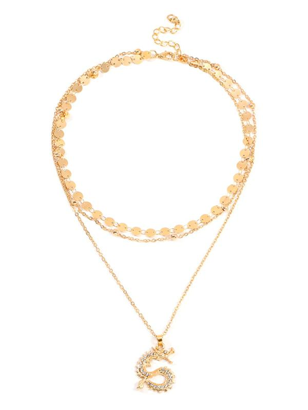 Dragon Rhinestone Layered Necklace