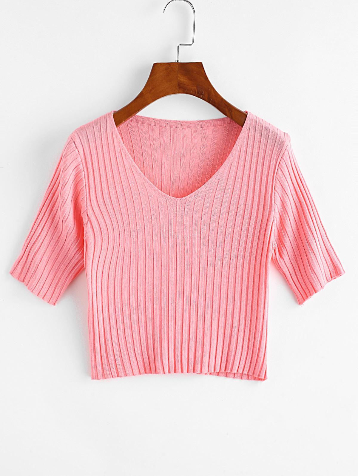 V Neck Knitted Slim Crop Tee