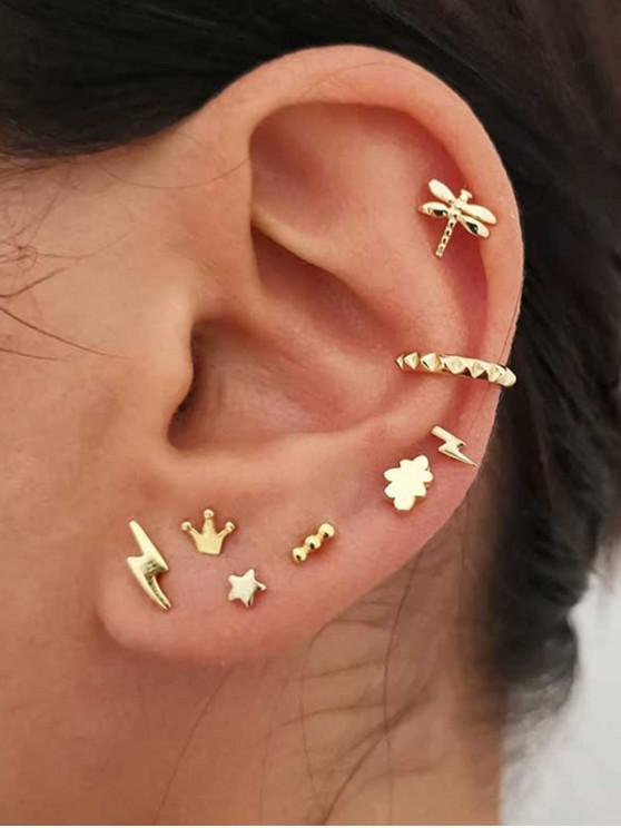 lady Crown Lightning Stud And Ear Cuff Earring Set - GOLD